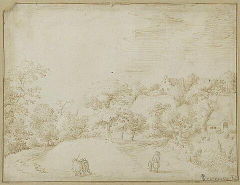 Vue partielle d'un hameau entouré de bosquets