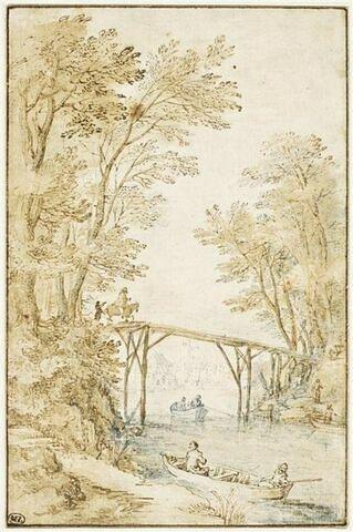 Rivière traversée par une passerelle en bois