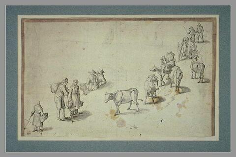 Troupeau de vaches conduit par deux bergers et cinq autres personnages