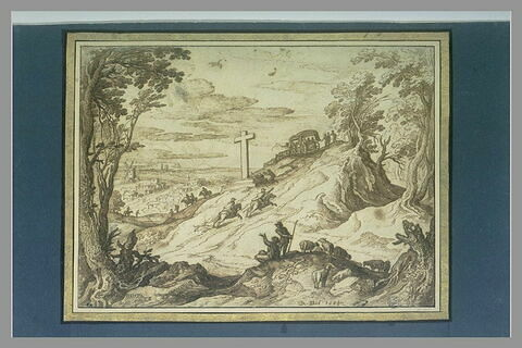Paysage avec des bergers et des moutons, une route animée de voyageurs