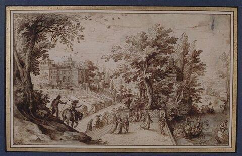 Le Mois de Mai : palais et parc avec une terrasse donnant sur une rivière