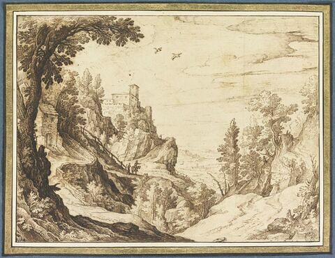 Paysage montagneux avec des maisons, et des figures