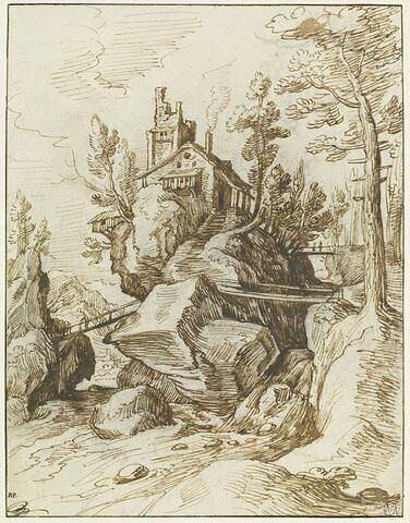 Habitation sur un rocher, au milieu d'un torrent