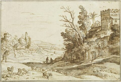 Paysage avec Jésus et les pélerins d'Emmaüs, sur une terrasse