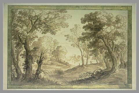 Rives boisées d'un étang avec deux chasseurs