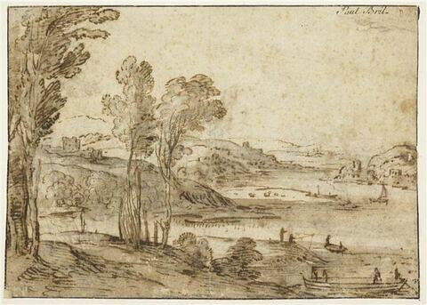 Paysage avec arbres et une rivière animée de figures