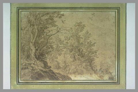 Paysage avec un homme et un chien, dans un bois bordé par un lac