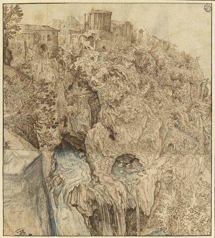 Paysage représentant une partie de Tivoli, avec le Temple de la Sibylle