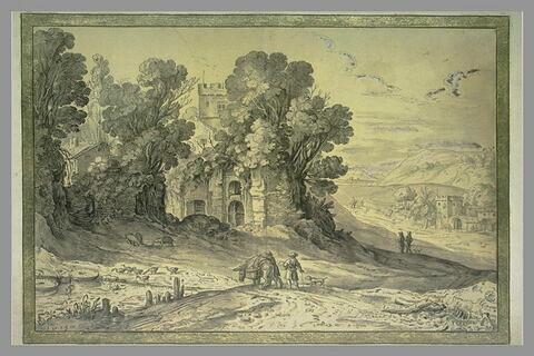 Paysage avec des ruines, une tourelle, une ferme et la plaine à droite
