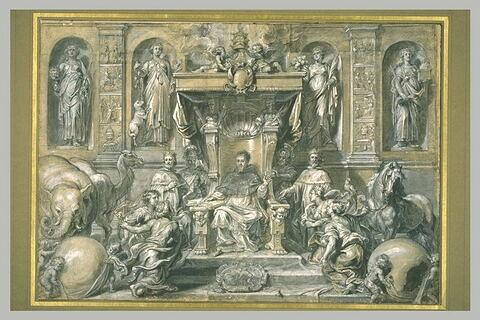 Le pape Urbain VIII recevant les tributs des quatre parties du monde