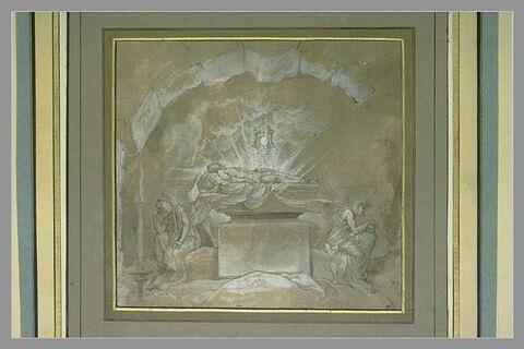 Jésus-Christ posé sur son tombeau et veillé par deux anges