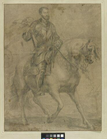 Portrait de l'Empereur Charles-Quint à cheval, au bord de la mer