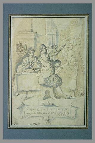 Le peintre à son chevalet et un poète à sa table