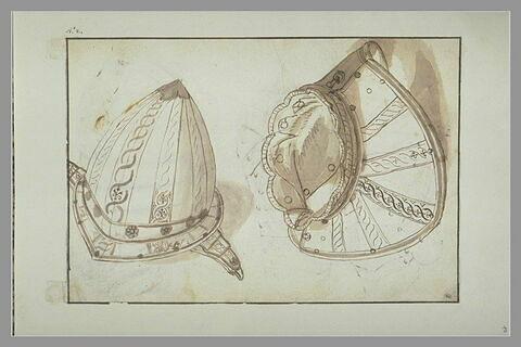 Parties d'armure d'arquebusier : casque dit 'morion' et haussecol