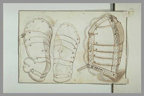 Parties d'armure d'arquebusier : cuissard, brassard et dossière