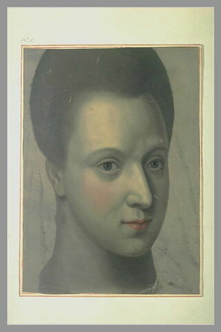 Portrait de jeune femme, les cheveux relevés