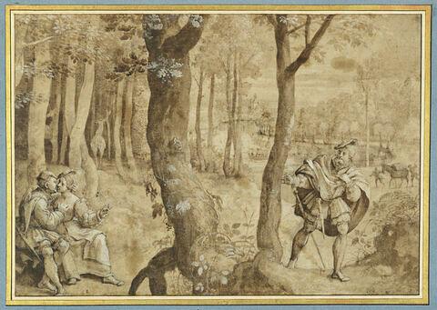 Paysage boisé, avec un seigneur surprenant un couple