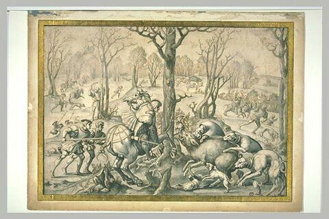 Allégorie du mois de Décembre : chasse au sanglier, prise de la bête