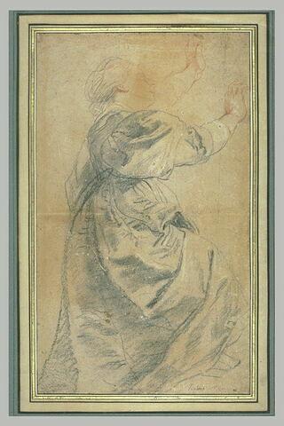 Jeune femme, les bras levés, tournée vers la droite