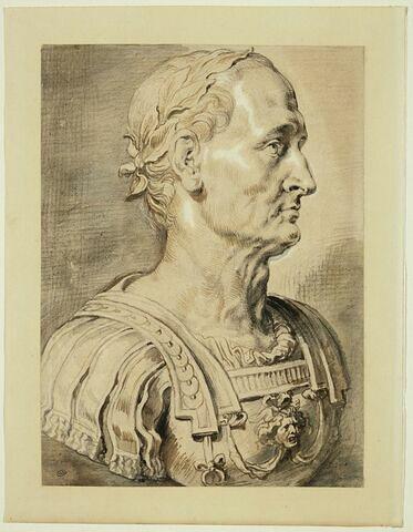Jules César, en buste, tourné à droite