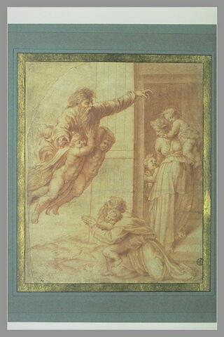 Dieu bénissant Noé, sa femme et ses trois fils après le Déluge
