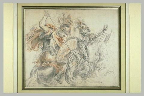 Deux guerriers armés à la romaine, combattant un lion