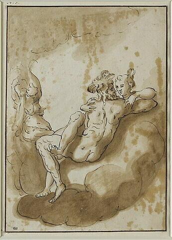 Mars et Vénus sur un nuage et s'embrassant