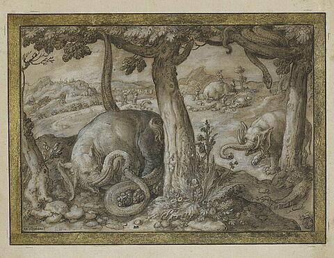 Combat d'éléphant et de serpents, et chasse à l'éléphant