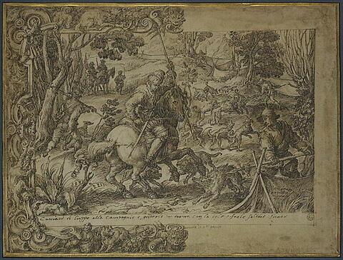 Une chasse au loup, carton pour une tapisserie