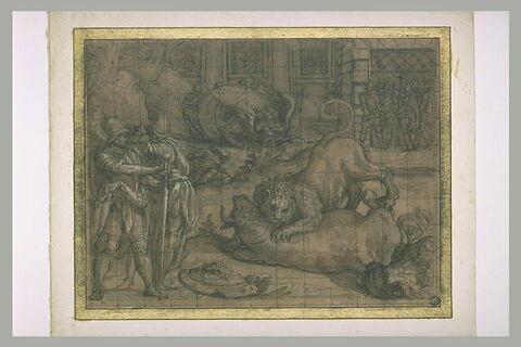 Combat d'un taureau et d'un lion. Plusieurs personnages armés