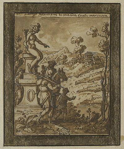 Trois soldats passant au pied d'une statue de Mercure