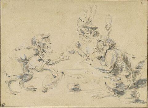 Quatre singes habillés fumant ou buvant