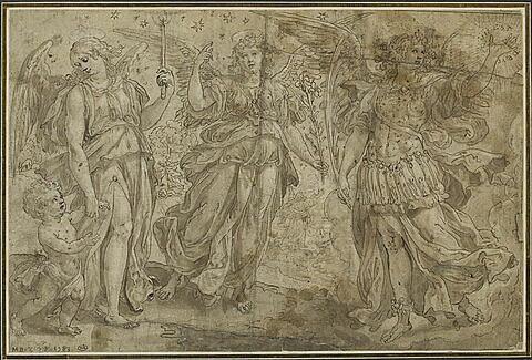 Trois archanges personnifiés par trois femmes ailées