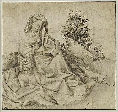 Jeune femme dans un paysage, jouant d'un orgue portatif