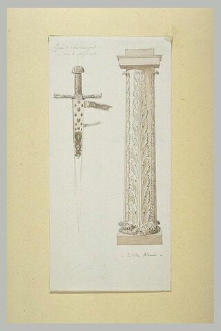 Epée de Charlemagne et fût de colonne décorée de palmes