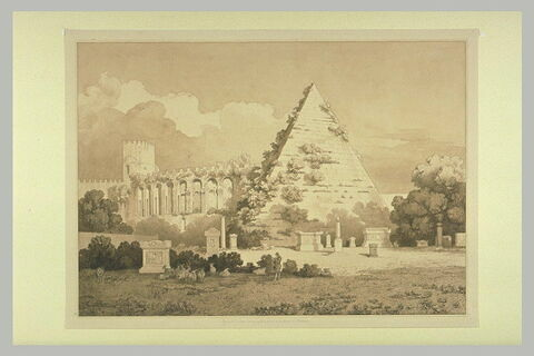 Vue de la pyramide de Caius Cestius, et des Murs de Rome
