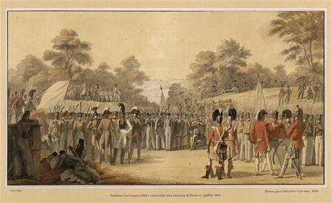 Troupes alliées russes et anglaises cantonnées à Paris en 1815