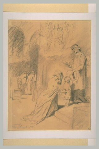 Dame présentant son enfant à l'église