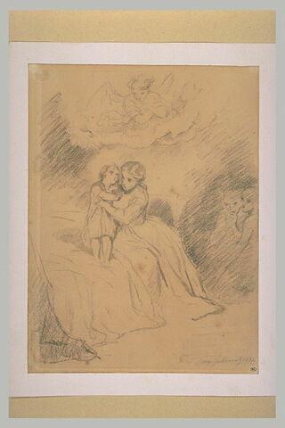 Jeune femme tenant un enfant sur un lit