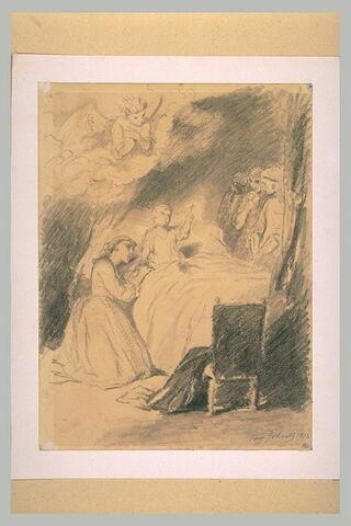 Jeune femme agenouillée près du lit d'un enfant