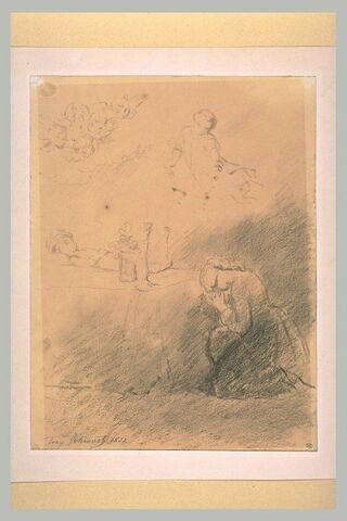 Une femme à genoux devant un enfant mort sur un lit