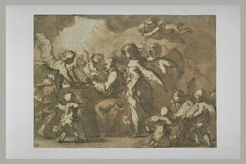 Saint franciscain entouré d'anges