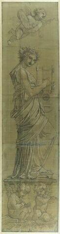 Les Arts : la muse Euterpe, le génie de la Peinture et celui de la Richesse