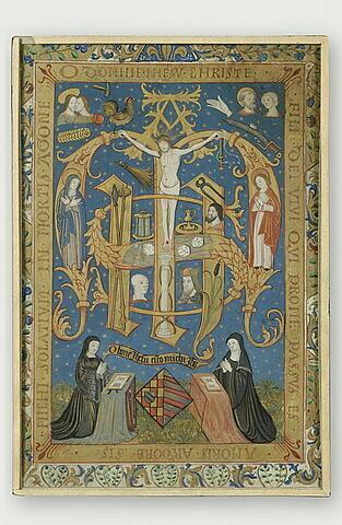 Deux dévotes en prière devant un double monogramme Jhesus Maria