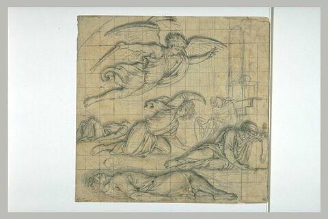 L'ange exterminateur planant au-dessus de figures allongées ou prostrées