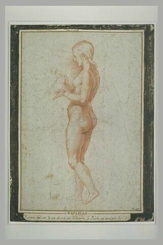 Jeune femme nue, de profil vers la gauche