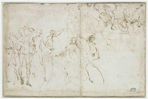 Deux groupes d'hommes nus, combattant