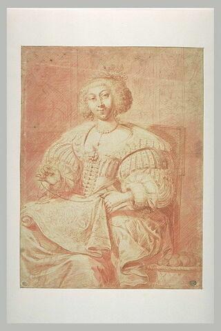 Portrait de femme brodant, assise dans un fauteuil