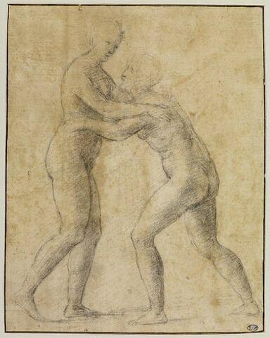 Deux femmes nues debout et s'enlaçant : étude pour une Visitation