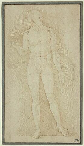 Homme nu, debout, de profil à droite, étude pour les 'Proportions du corps'